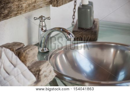 Faucet in modern bathroom - Stock Photo