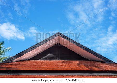 Roof gable thai style under bluer sky