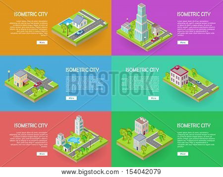 Isometric city vector web banners set. Modern architecture, skyscraper exterior, clean sustainable eco city. Home and office buildings. Eco friendly environment. Residential estate cityscape.