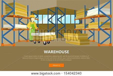 Warehouse conceptual vector web banner. Flat style. Man in uniform working with goods in storage.  Illustration for delivery online services, startups, corporate web sites, landing pages design