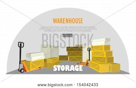 Warehouse storage web banner. Storage warehouse with boxes. Unit of warehouse interior, boxes, storage building, industrial storehouse, cargo and interior, distribution and shelf. Vector illustration