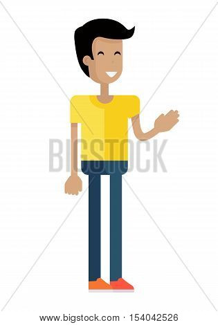 Man with black hair and in yellow T-shirt and blue pants. Hand gesture. Smiling young man personage in flat design isolated on white background. Vector illustration.