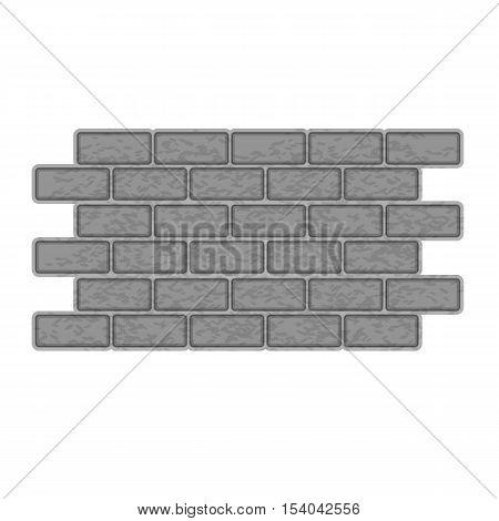 Brick wall icon. Gray monochrome illustration of brick wall vector icon for web design