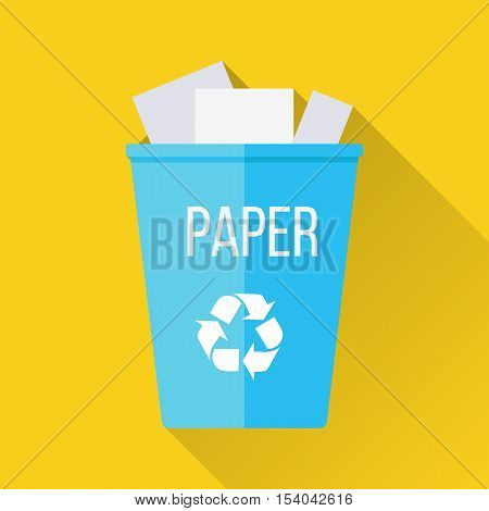 Blue recycle garbage bin with paper. Reuse or reduce symbol. Plastic recycle trash can. Trash can icon in flat. Waste recycling. Environmental protection. Vector illustration.