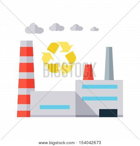 Factory building with pipes in flat. Industrial factory building concept. Industrial plant with pipes. Factory icon. Waste recycling sign. Isolated object in flat design on white background.