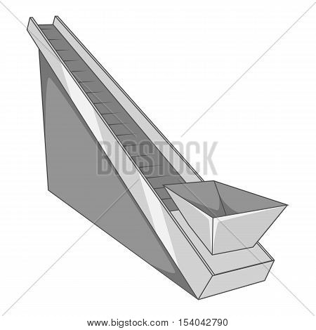 Conveyor machine icon. Gray monochrome illustration of conveyor vector icon for web design