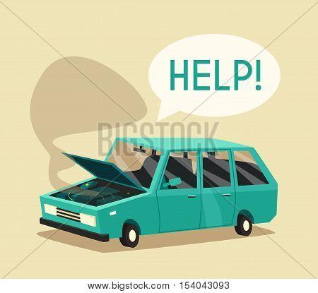 Broken car. Vector cartoon illustration. Need help. Car with open hood