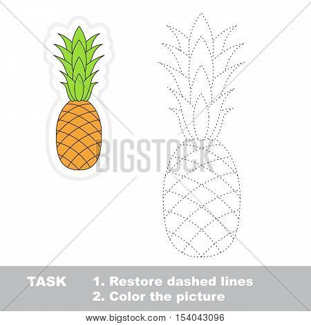 Ripe Pineapple in vector to be traced. Easy educational kid game. Simple level of difficulty. Restore dashed line and color the picture. Trace game for children.