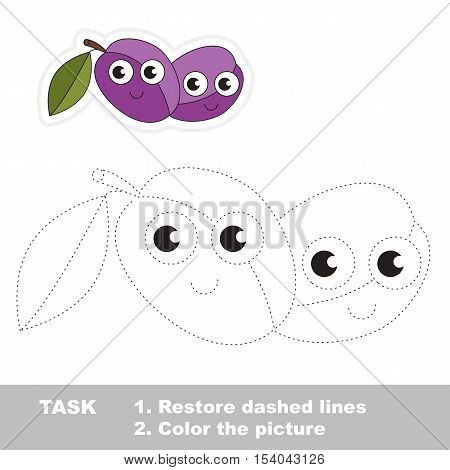 Funny plum in vector to be traced. Easy educational kid game. Simple level of difficulty. Restore dashed line and color the picture. Trace game for children.