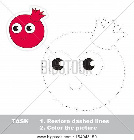 Funny pomegranate in vector to be traced. Easy educational kid game. Simple level of difficulty. Restore dashed line and color the picture. Trace game for children.