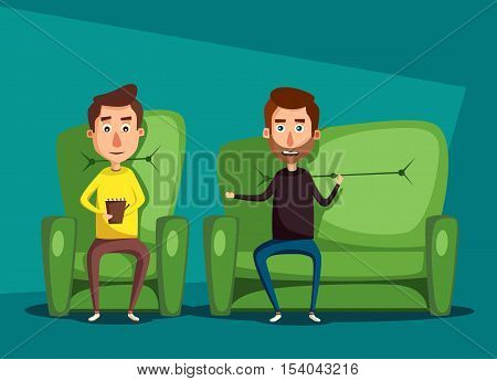 Patient talking to psychologist. Cartoon vector illustration. Psychotherapy counseling. Man dealing with stress. Psychology cabinet with sofa. Male character holding notepad