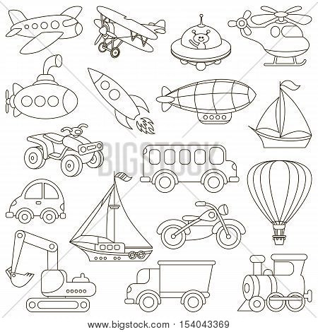 Toy Transport Set to be colored. Coloring book to educate kids. Learn colors. Visual educational game. Easy kid gaming and primary education. Simple level of difficulty. Coloring pages.
