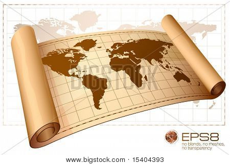 Vintage vector scrolled world map.