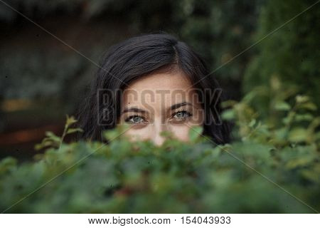 Arab glance from a woman behind the bushes.