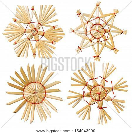 Christmas Snowflake Star Straw Hanging Decoration Xmas Tree Hang Toy Set Isolated over White background