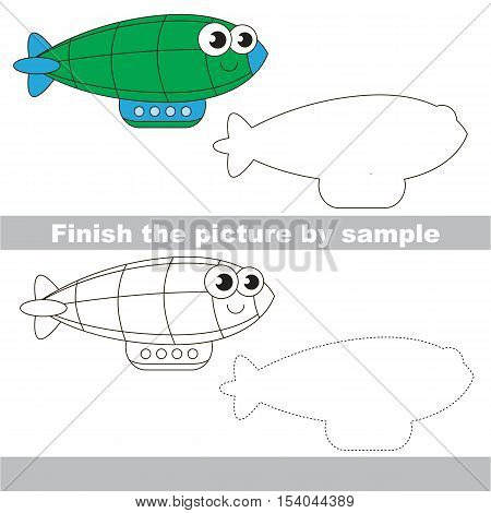Drawing worksheet for children. Easy educational kid game. Simple level of difficulty. Finish the picture and draw the cute Green Zeppelin.