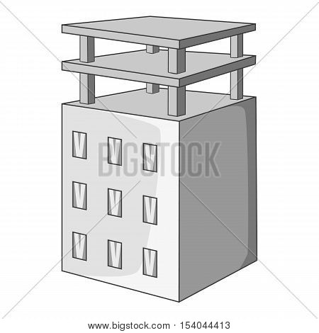 Building under construction icon. Gray monochrome illustration of building construction vector icon for web design