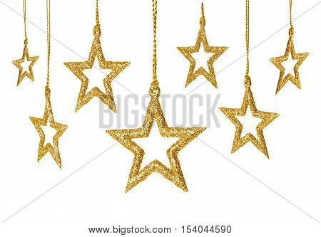 Christmas Star Hanging Decoration New Year Sparkles Stars Set Golden Toys Isolated over White background