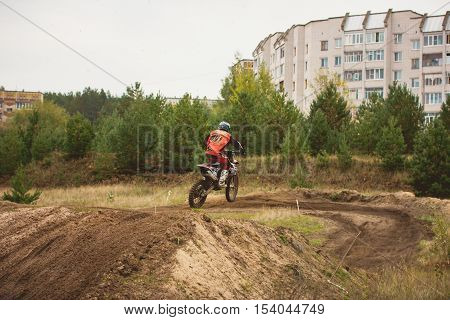 24 september 2016 - Volgsk, Russia, MX moto cross racing - competition near districts, telephoto