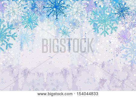 Winter vector blue celebration or invitation card with falling snowflakes on the frost background