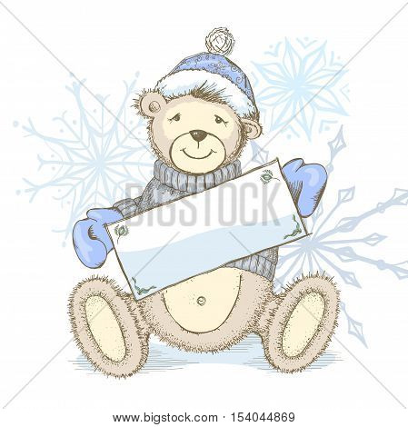 Winter pastel colored background or invitation with toy bear in sweater, hat and mittens with empty place for text