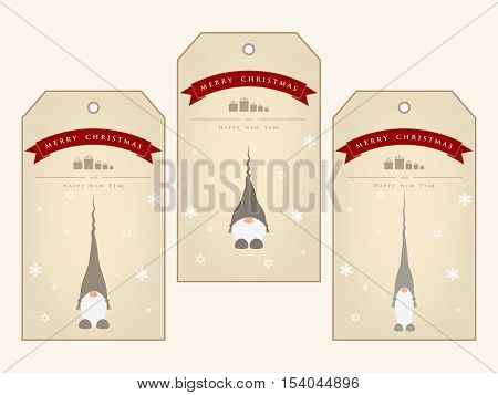 Vintage christmas gift tags with cute gnomes. Vector illustration.