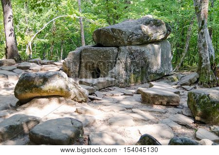 Dolmen single-chamber megalithic tomb of the Middle Bronze Age (3000-2000 BC). Valley of Zhane River near the village Vozrozhdenie in the vicinity of the resort city of Gelendzhik. Western Caucasus Krasnodar region of Russia.