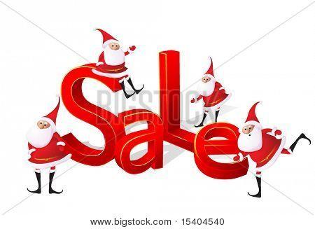 Big Christmas sale with Santa. Vector.