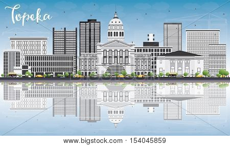Topeka Skyline with Gray Buildings, Blue Sky and Reflections. Vector Illustration. Business Travel and Tourism Concept with Modern Architecture. Image for Presentation Banner Placard and Web Site.