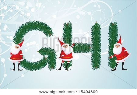 Christmas decorative fir-tree ABC with funny Santas. Letters G, H, I. Vector.