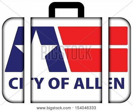Flag Of Allen, Texas, Usa. Suitcase Icon, Travel And Transportation Concept