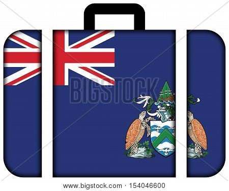 Flag Of Ascension Island, Canada. Suitcase Icon, Travel And Transportation Concept