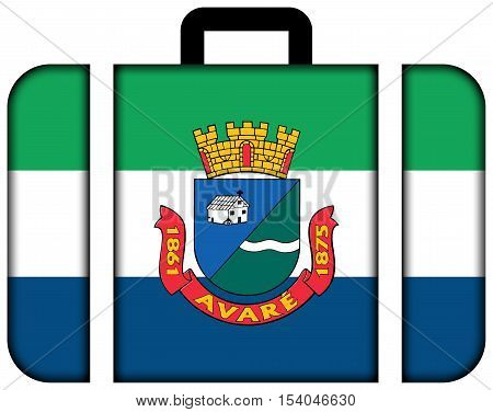 Flag Of Avare, Sao Paulo State, Brazil. Suitcase Icon, Travel And Transportation Concept