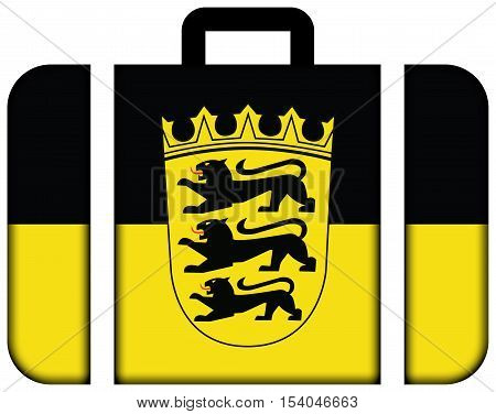 Flag Of Baden-wurttemberg With Coat Of Arms, Germany. Suitcase Icon, Travel And Transportation Conce