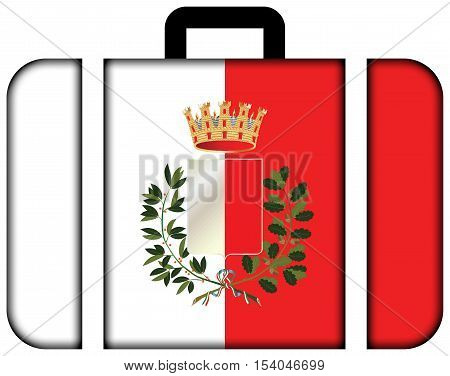 Flag Of Bari With Coat Of Arms, Italy. Suitcase Icon, Travel And Transportation Concept