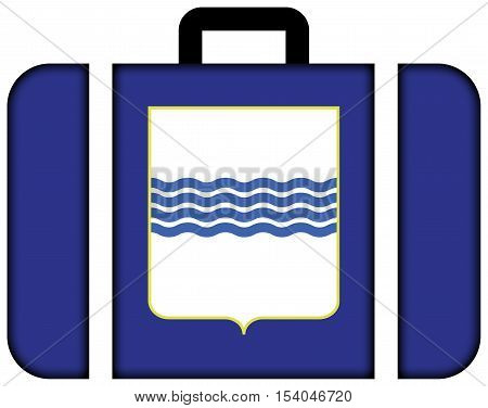 Flag Of Basilicata, Italy. Suitcase Icon, Travel And Transportation Concept
