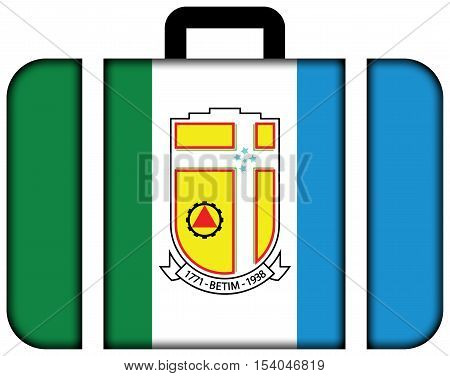 Flag Of Betim, Minas Gerais State, Brazil. Suitcase Icon, Travel And Transportation Concept