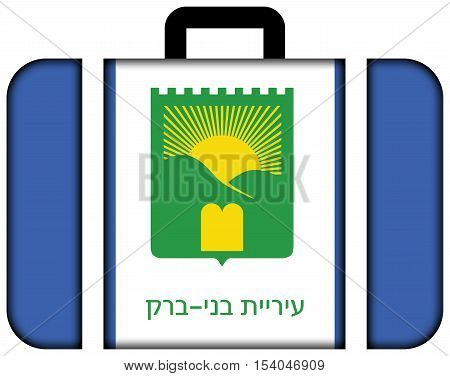 Flag Of Bnei Brak, Israel. Suitcase Icon, Travel And Transportation Concept