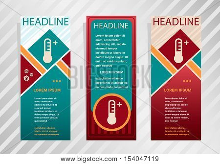Thermometer Icon On Vertical Banner