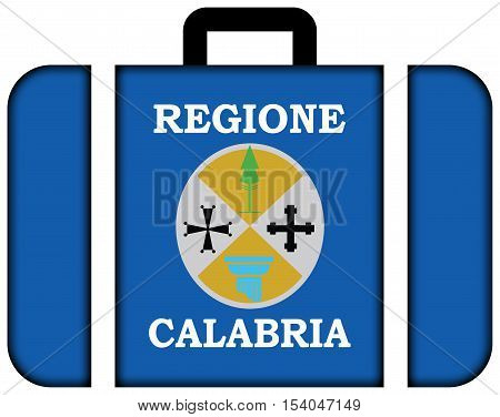 Flag Of Calabria, Italy. Suitcase Icon, Travel And Transportation Concept