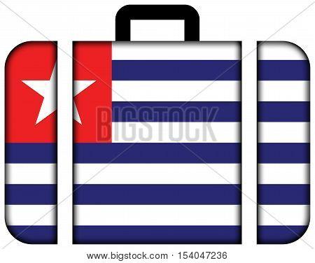 Flag Of Carmo, Rio De Janeiro State, Brazil. Suitcase Icon, Travel And Transportation Concept