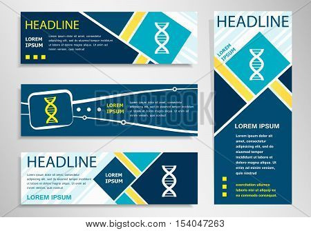 Dna  Icon On Horizontal And Vertical Banner