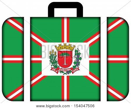Flag Of Curitiba, Parana, Brazil. Suitcase Icon, Travel And Transportation Concept