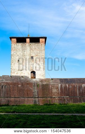 An old medieval tower and wall in Pistoia