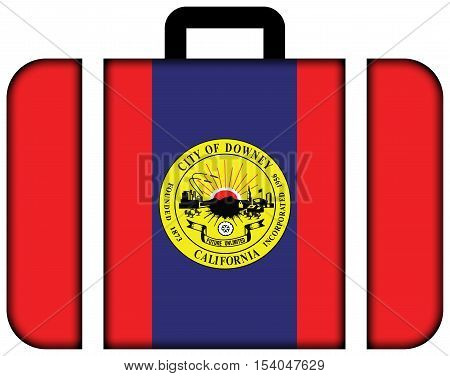 Flag Of Downey, California, Usa. Suitcase Icon, Travel And Transportation Concept