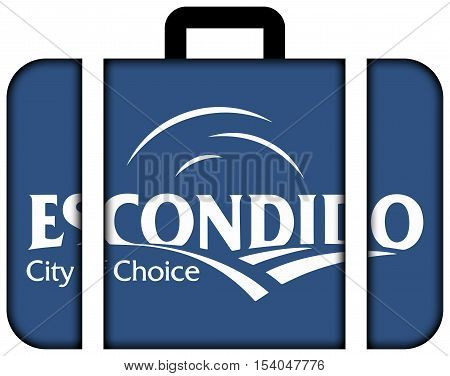 Flag Of Escondido, California, Usa. Suitcase Icon, Travel And Transportation Concept