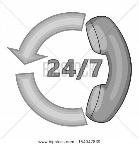 All-day customer support call-center icon. Gray monochrome illustration of all-day customer support vector icon for web design