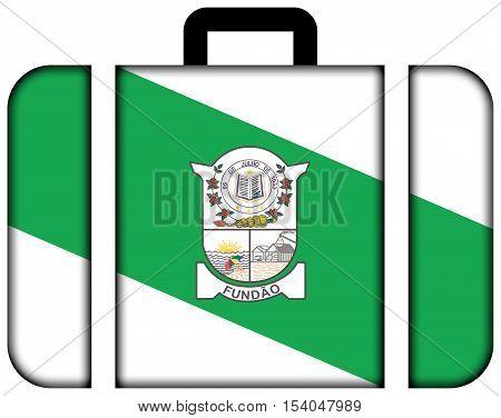 Flag Of Fundao, Espirito Santo State, Brazil. Suitcase Icon, Travel And Transportation Concept