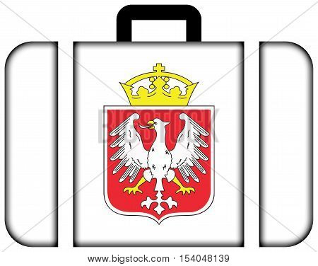 Flag Of Gniezno, Poland. Suitcase Icon, Travel And Transportation Concept