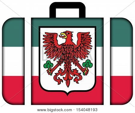 Flag Of Gorzow Wielkopolski With Coat Of Arms, Poland. Suitcase Icon, Travel And Transportation Conc